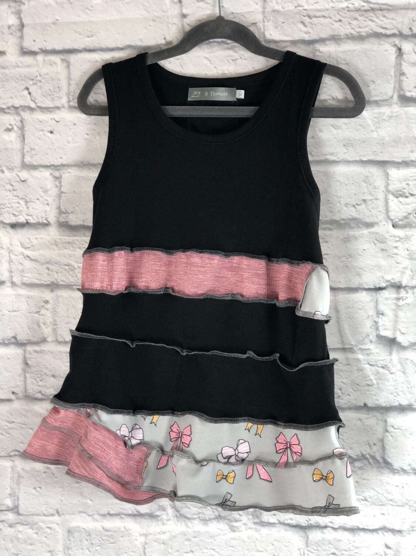 S Threads Kids Upcycled Black Tank Ruffle Dress Size Child Large