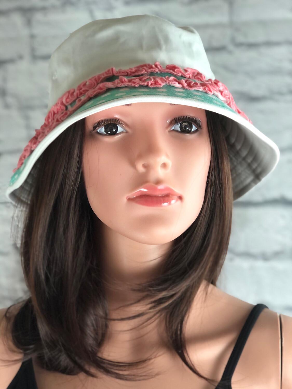 Recycled White Bucket Hat W Ruffle Polkadot Fabric One Size