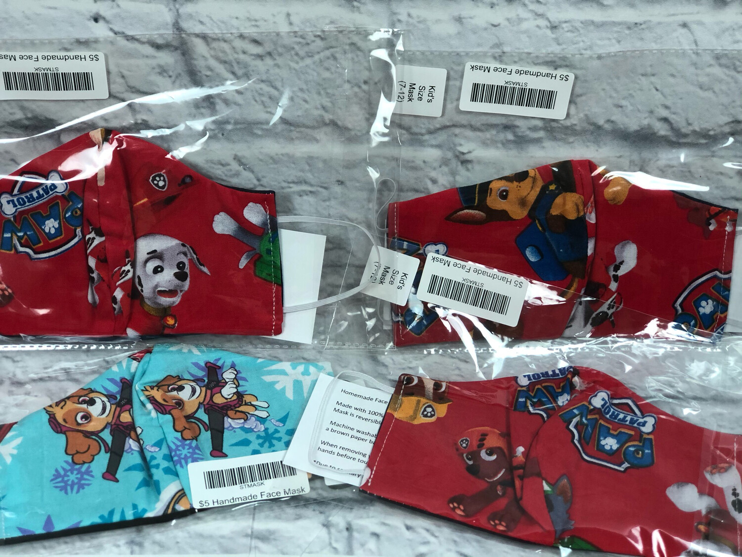 S Threads Handmade Face Mask Size 3-6 Years