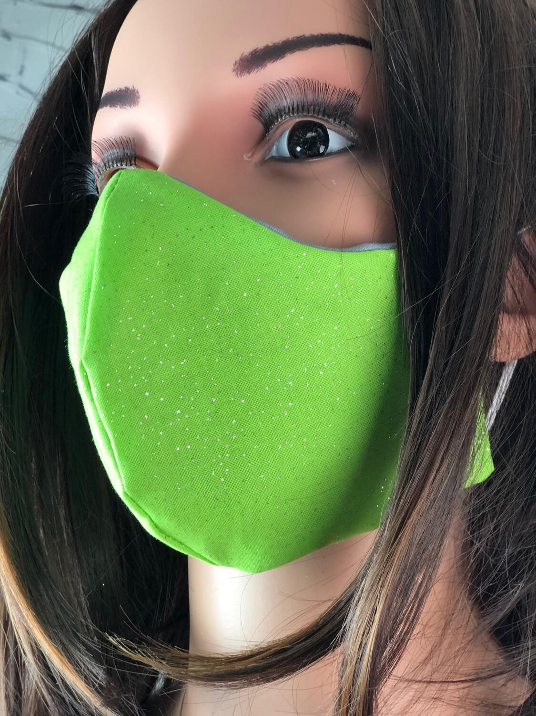 Handmade Face Mask Women's Size Green Sparkles