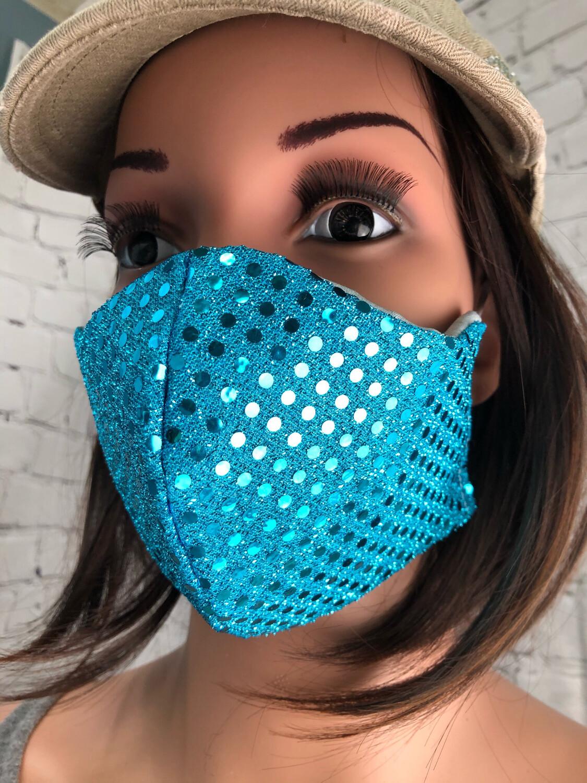 Handmade Face Mask Women's Size Blue Sequin