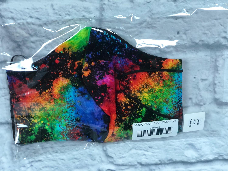 Handmade Face Mask Men's Size Rainbow Splatter