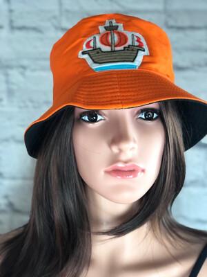 Bucket Hat Upcycled One Size Orange Nautical Ship