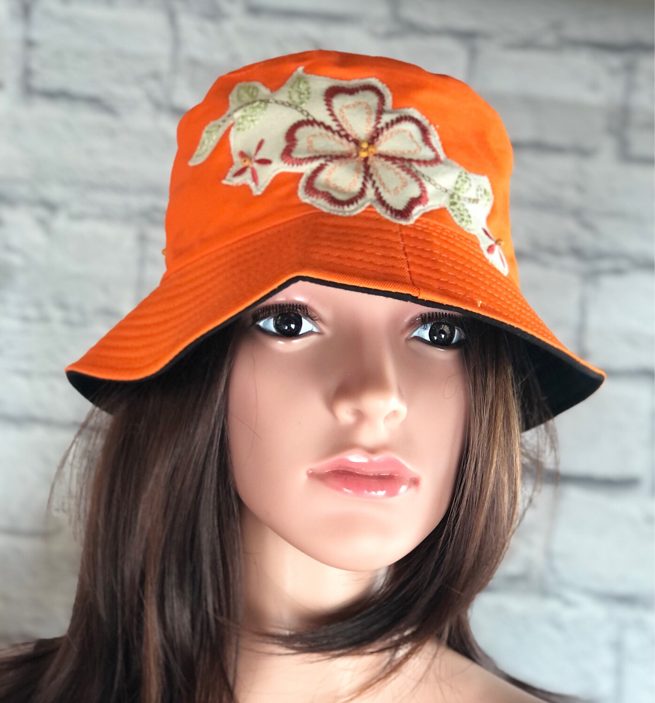 Bucket Hat One Size Orange Embroidered Flowers