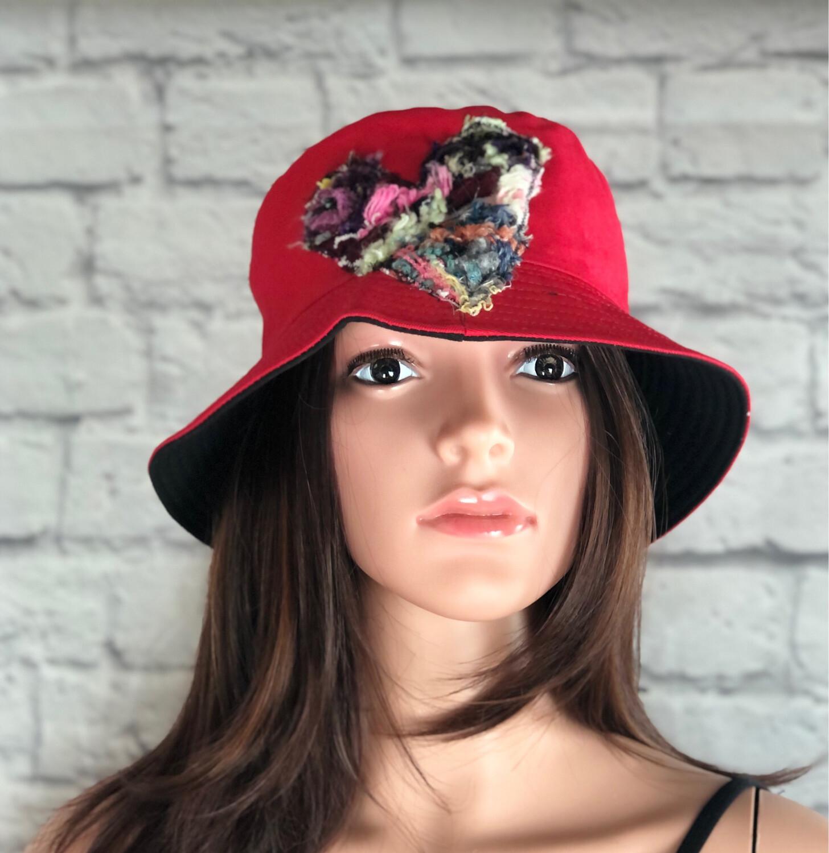 Bucket Hat One Size Red Fiber Art Heart #3