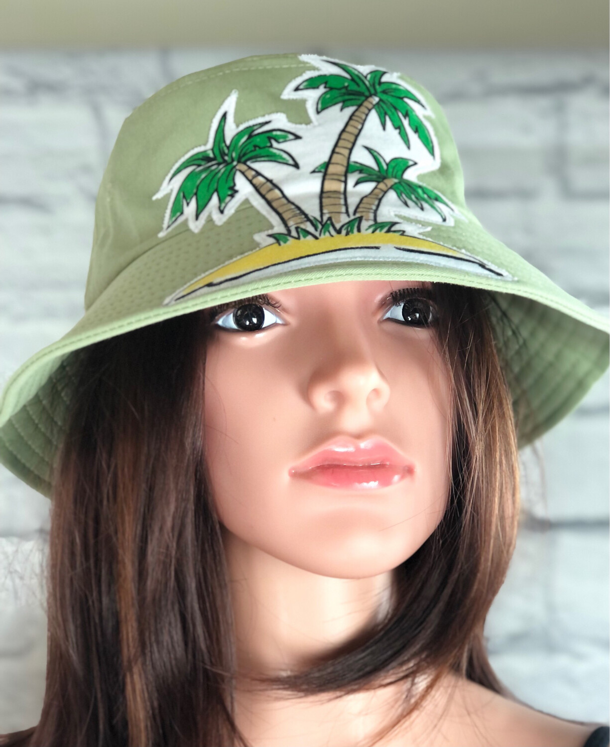 Bucket Hat One Size Green Palm Trees