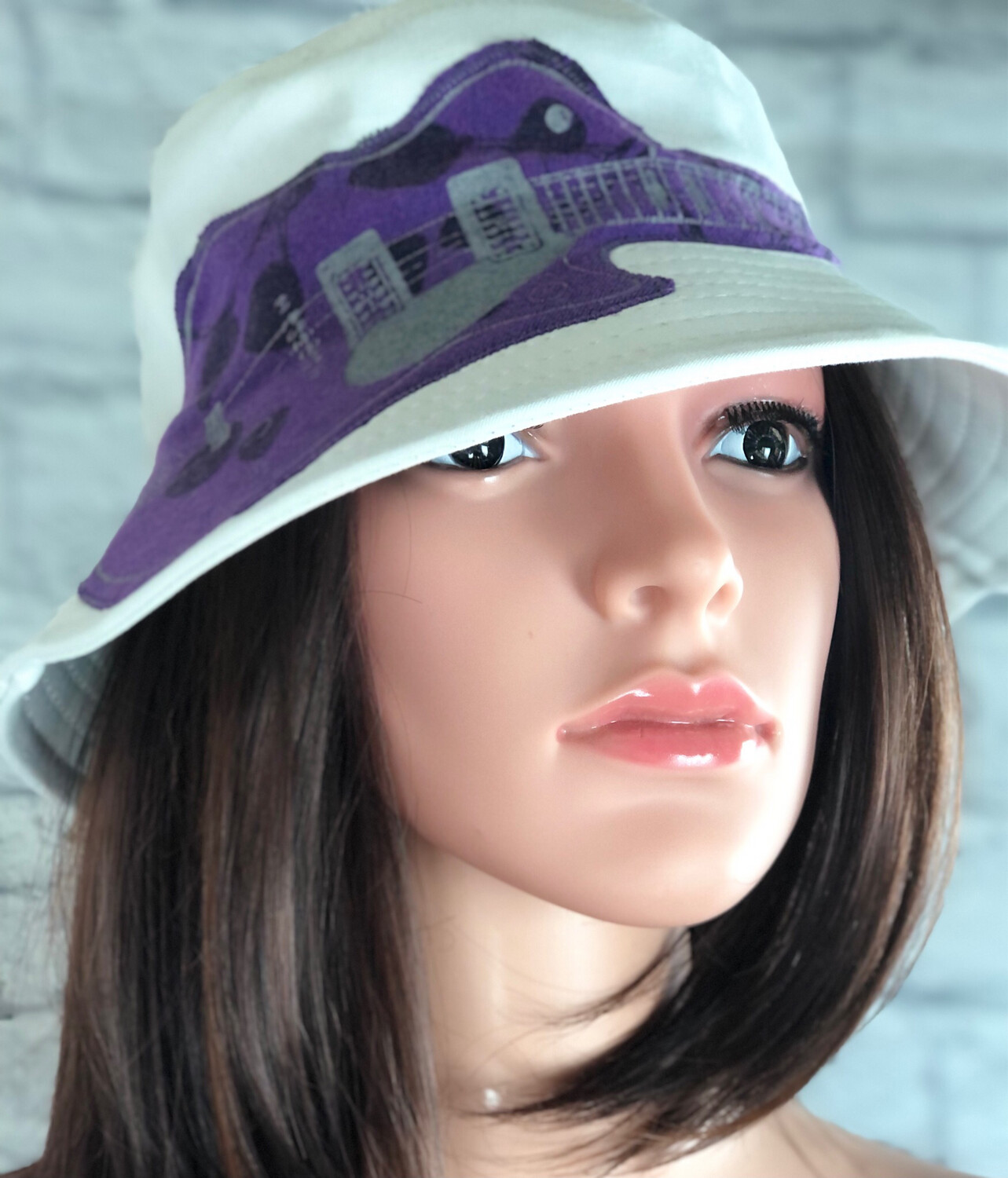 Bucket Hat One Size White With Purple Guitar