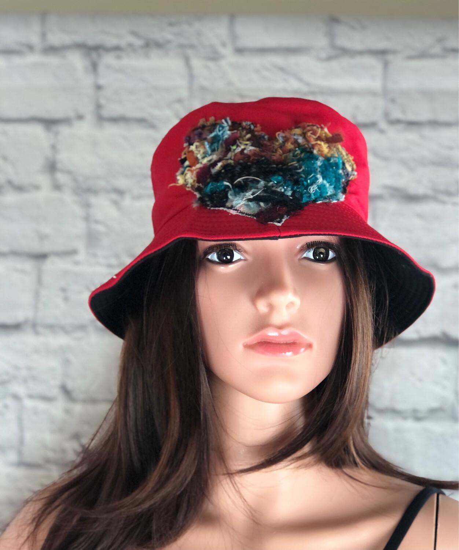 Bucket Hat One Size Red Fiber Art Heart #4