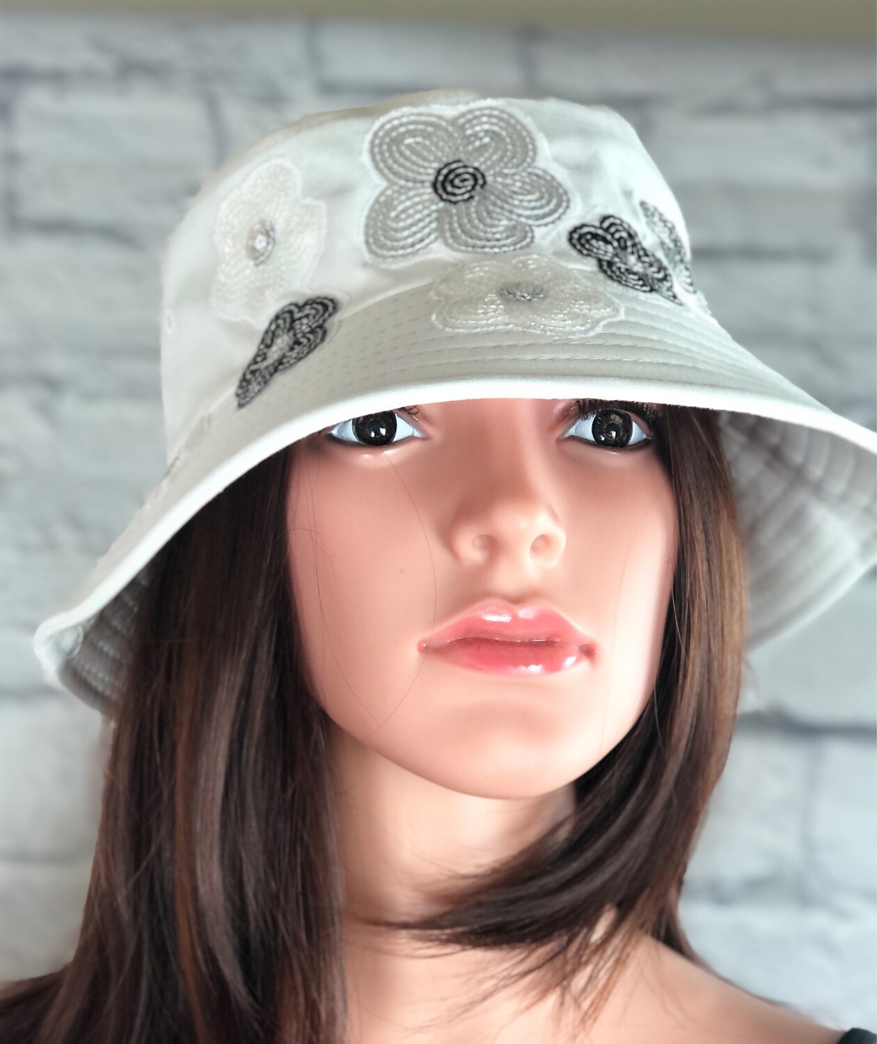 Bucket Hat One Size White Sequin Flowers