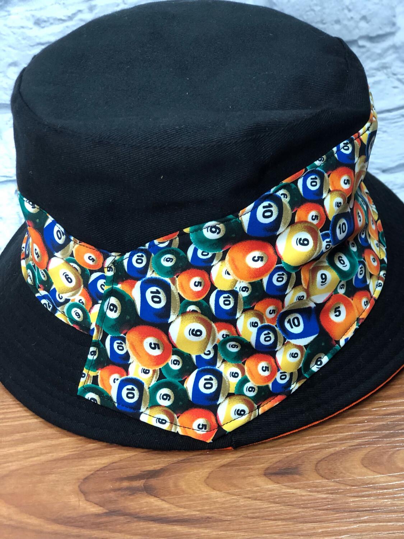 Bucket Hat One Size Black W Orange Pool Ball Necktie