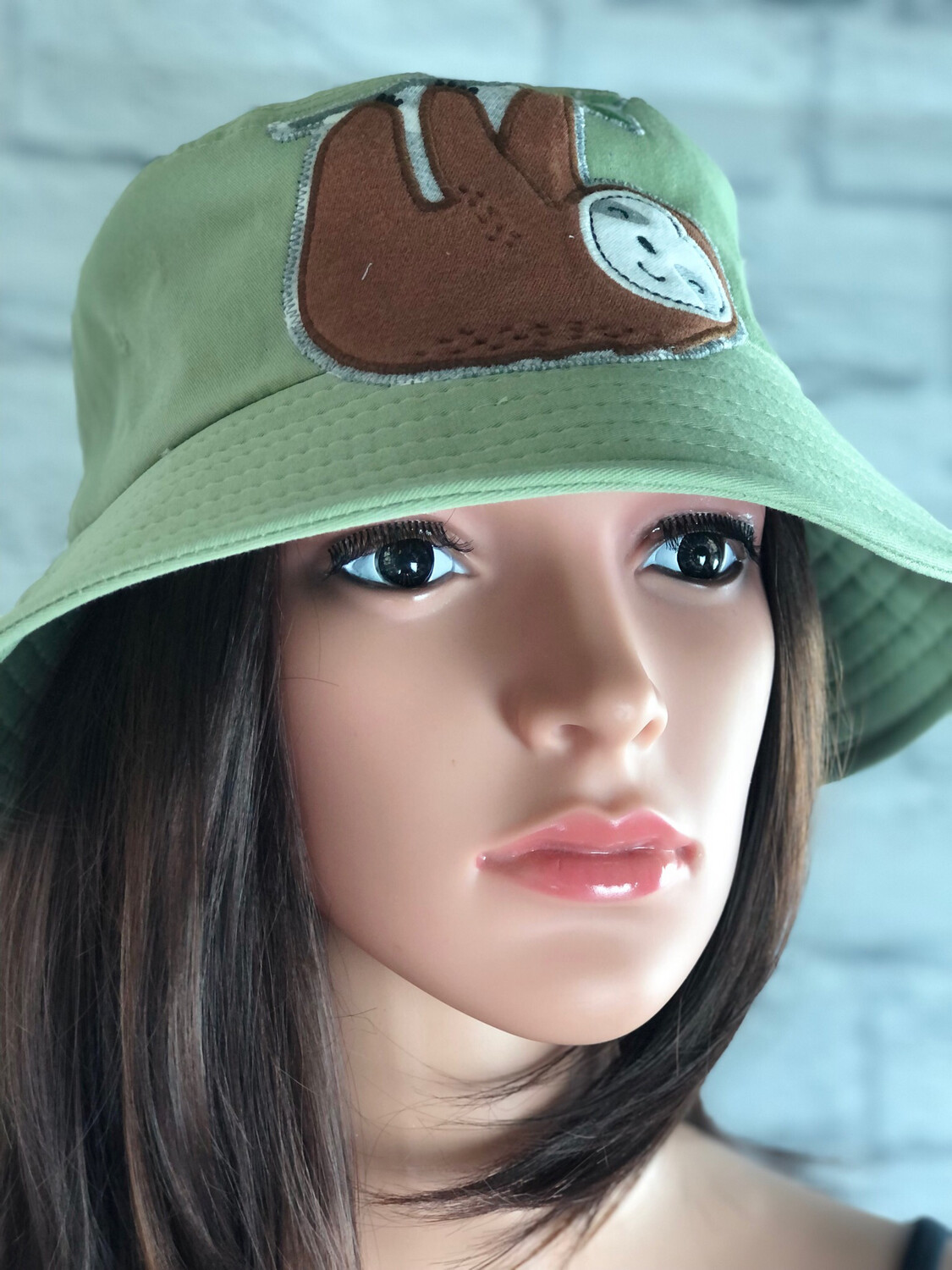 Bucket Hat One Size Green Sloth Hanging On Limb
