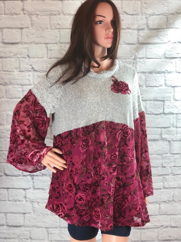 S Threads Upcycled Top Bell Sleeve Fuchsia Velvet Size XL