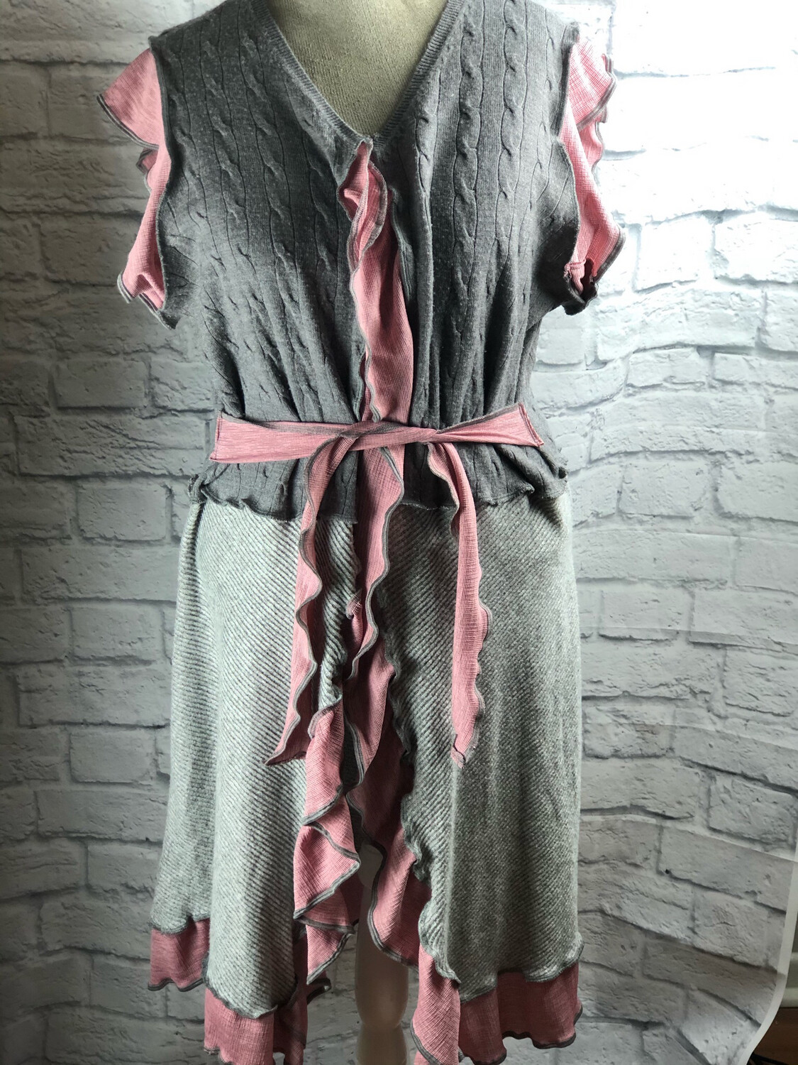 S Threads Upcycled Pink Gray Ruffle Tie Vest W Pockets Size 2X