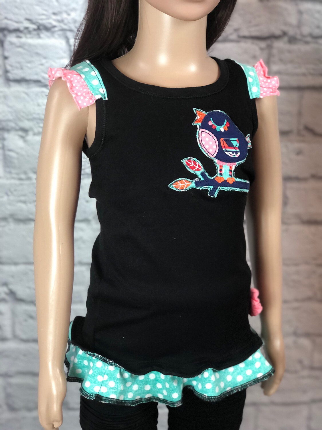 S Threads Kids Upcycled Birdie Ruffle Tank Top Size 5T