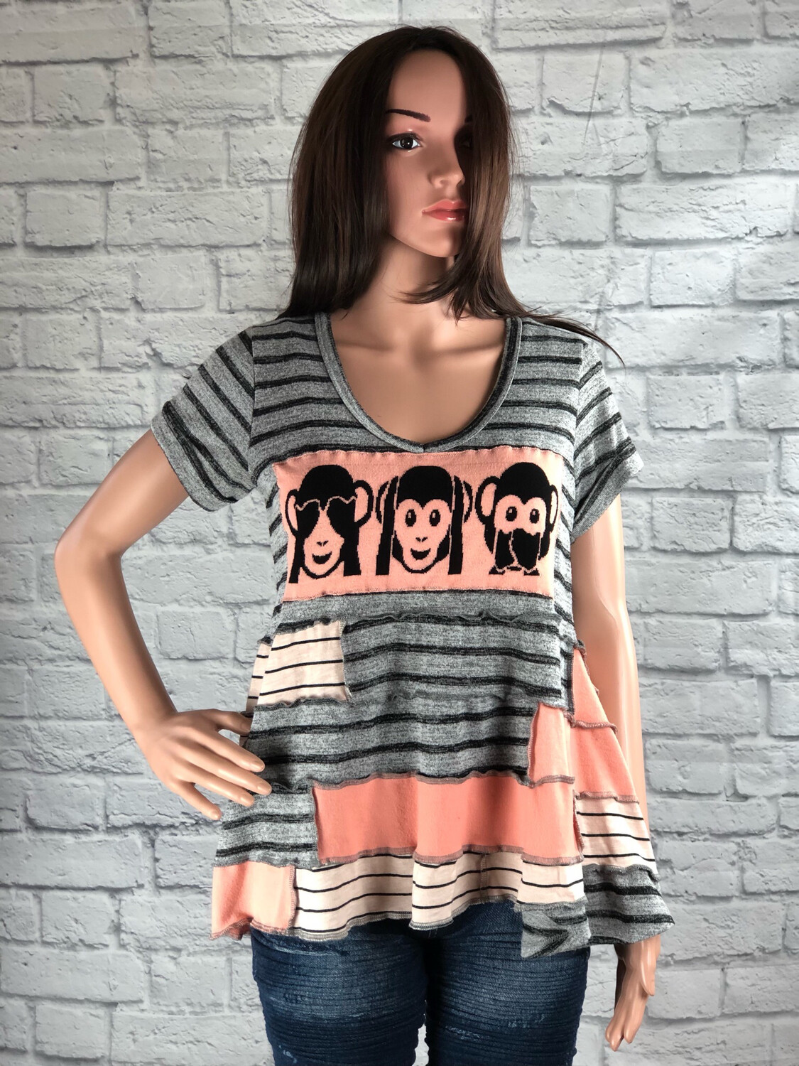 S Threads Upcycled Top Patchwork Monkeys Size Large