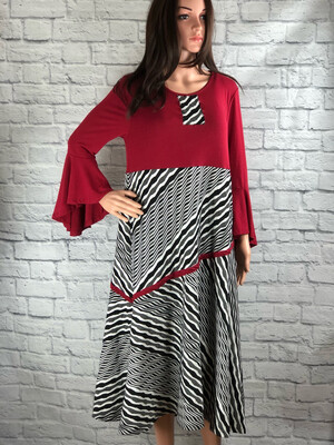 S Threads Upcycled Dress Red Bell Sleeve Striped Size L/ XL