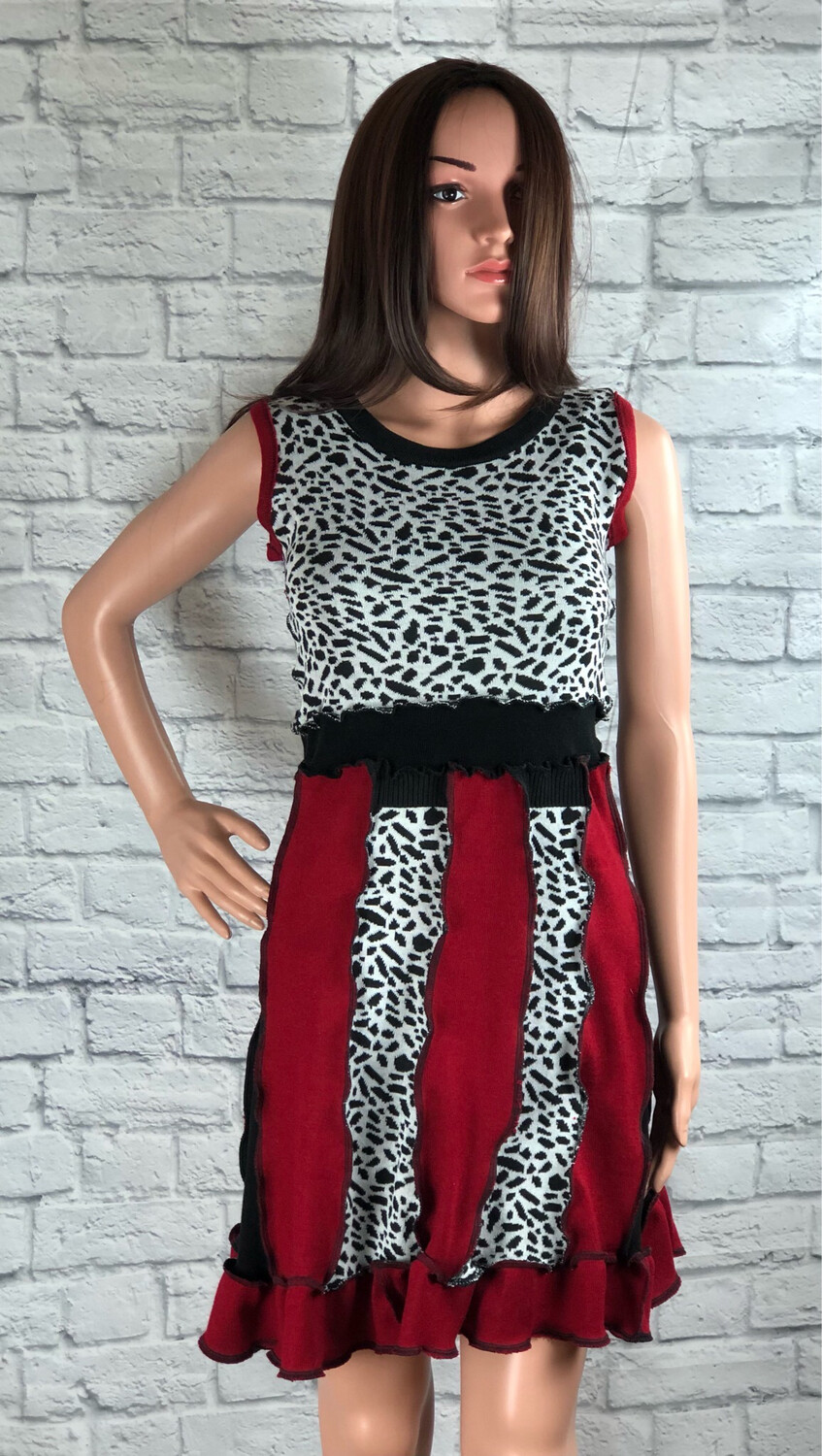 S Threads Upcycled Leopard Sweater Panel Dress Size Small