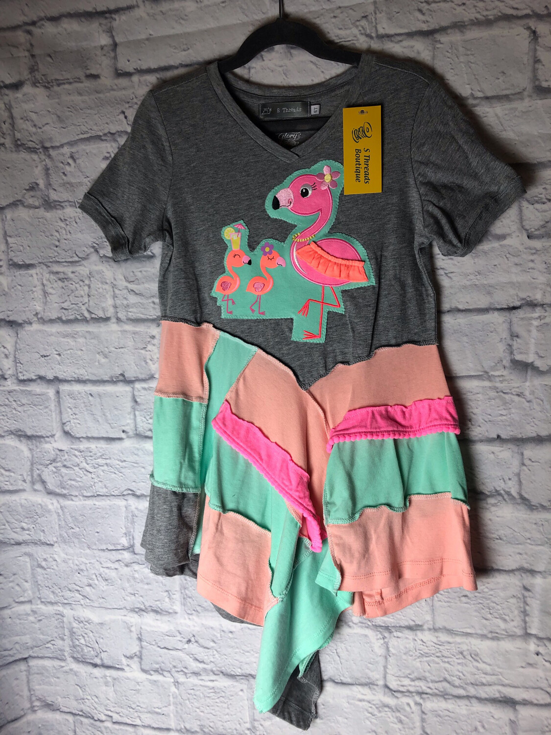 S Threads Kids Upcycled Repurposed Flamingo Short Sleeve Cotton Dress OOAK Size Child 6T