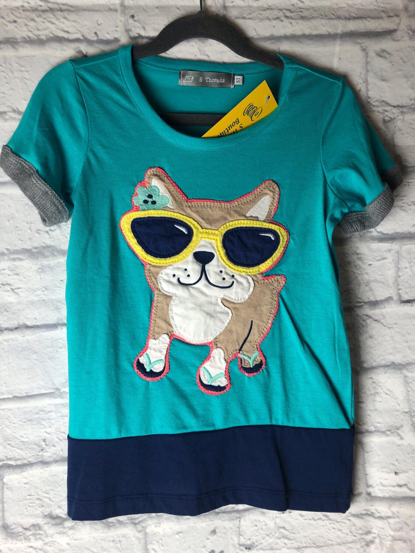 S Threads Kids Upcycled Short Sleeve Dog Wearing Sunglasses Shirt Size Child 5T