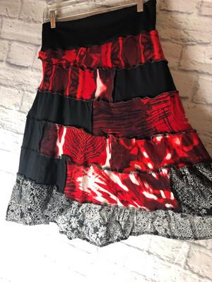S Threads Upcycled Skirt Artsy Red Black White Flare Skirt Size Medium