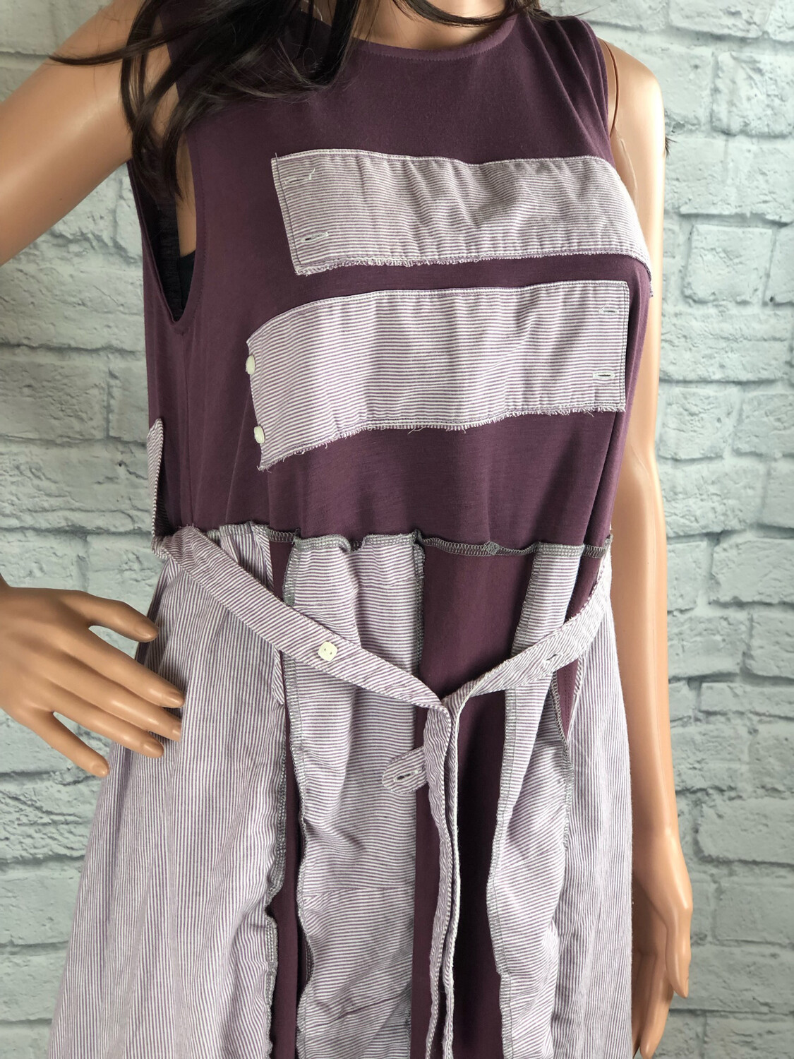 S Threads Upcycled Dress Plum Sleeveless With Men's Button Up Pieces Repurposed Fashion Size L