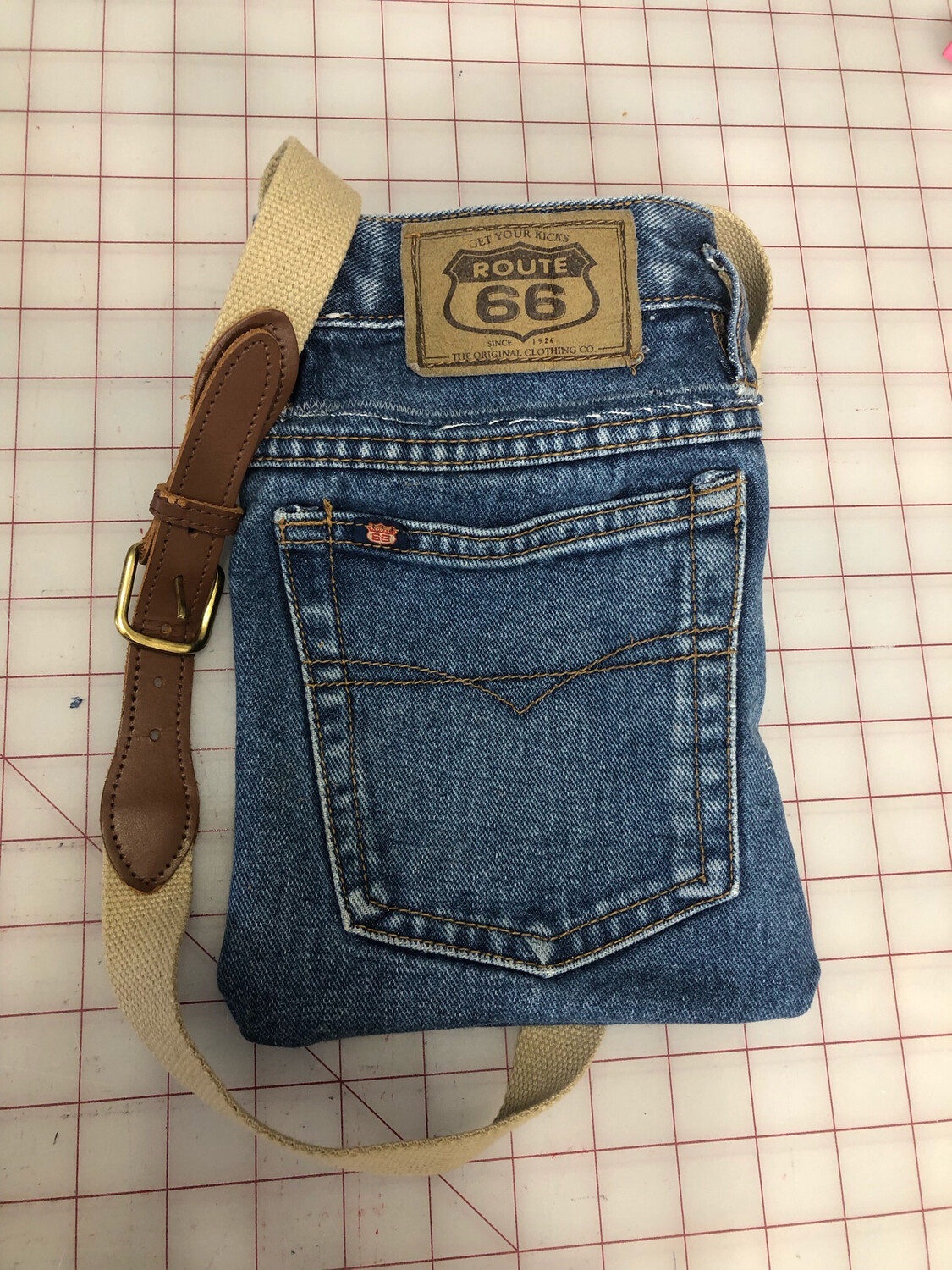 S Threads Upcycled Purse Jean Leather Belt Strap
