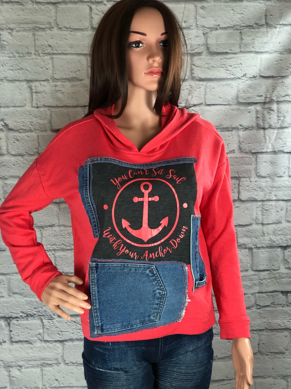 S Threads Upcycled Hoodie Sweatshirt W Jean Pocket Size XL