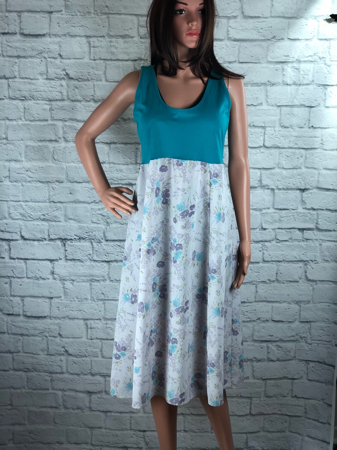 S Threads Upcycled Dress Shimmer Tank Floral Print Size L/XL