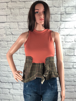 S Threads Upcycled Crop High Neck Plaid Crop Top Size Small/ Medium