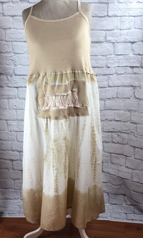 S Threads Upcycled Dress Boho Tank W Crochet Pouch Size XL/2X