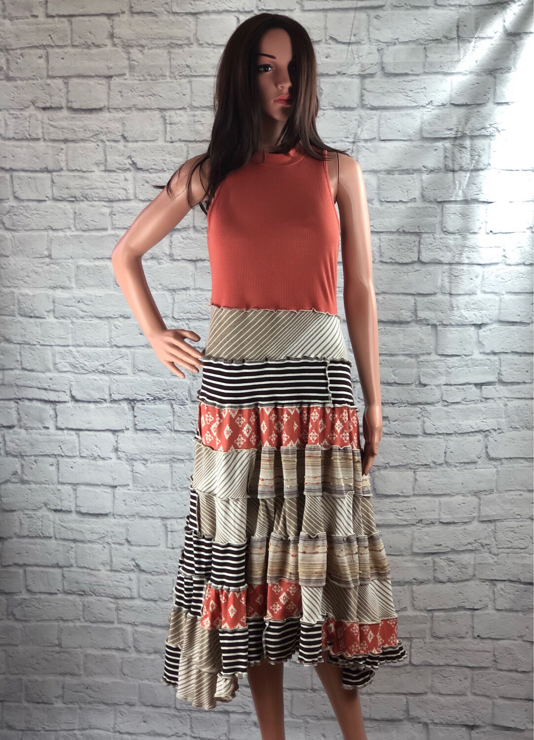 S Threads Upcycled Dress Patchwork Ruffle Cottagecore Spiral Size L/XL