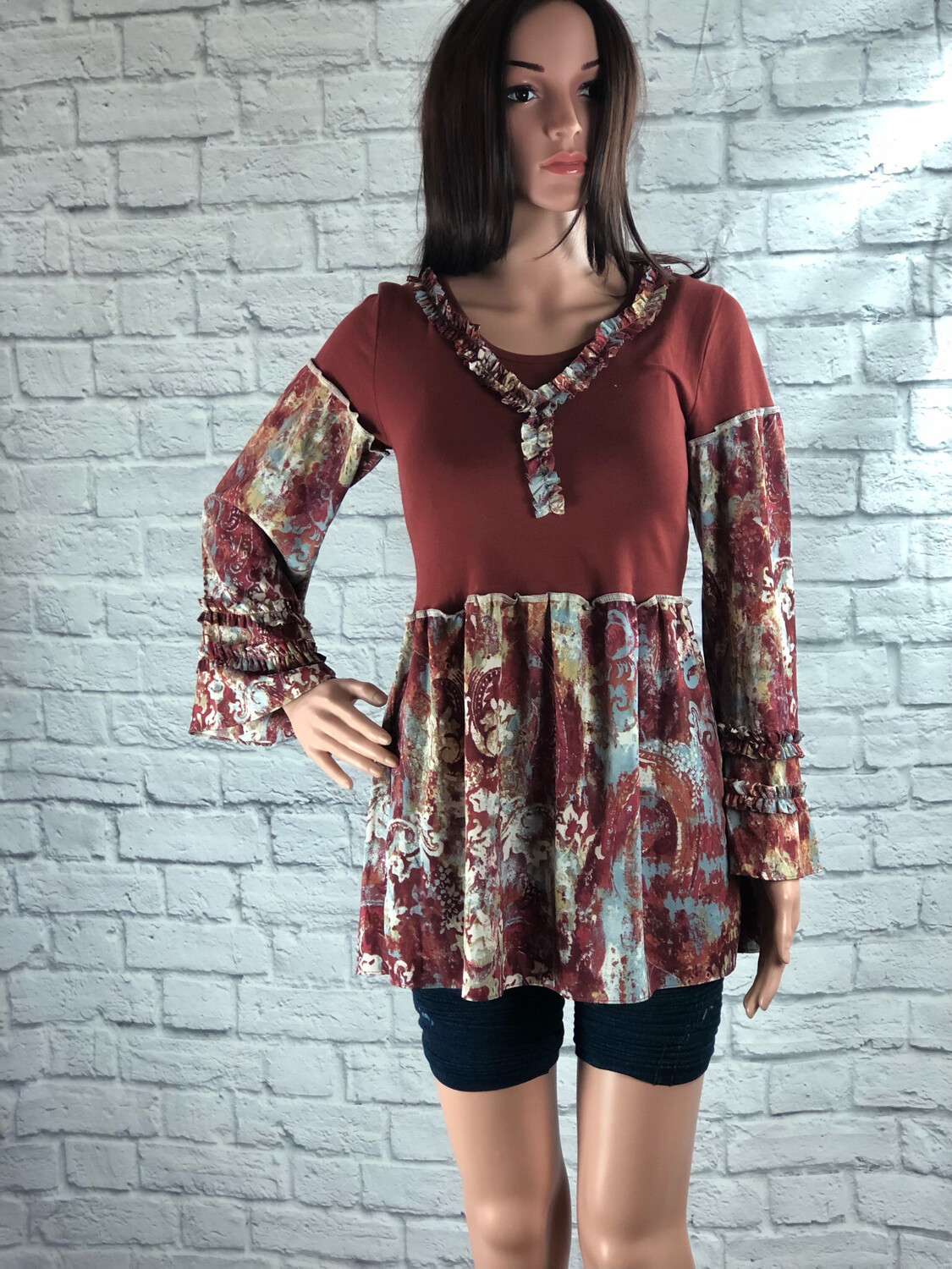 S Threads Upcycled Top Bell Sleeve Ruffle Size Medium