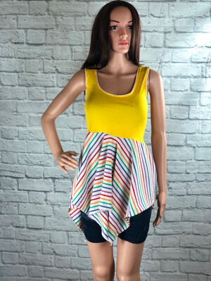 S Threads Upcycled Tank Asymmetrical Points Pride Yellow Rainbow Top Size XS/S