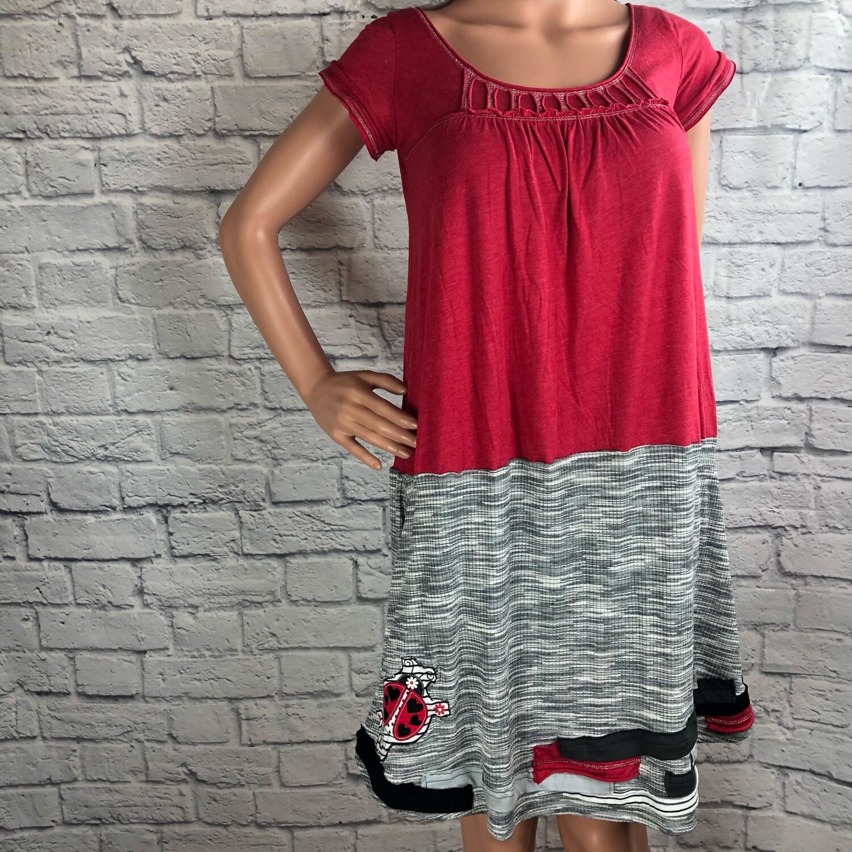 S Threads Upcycled Dress Ladybug Tunic Size Medium