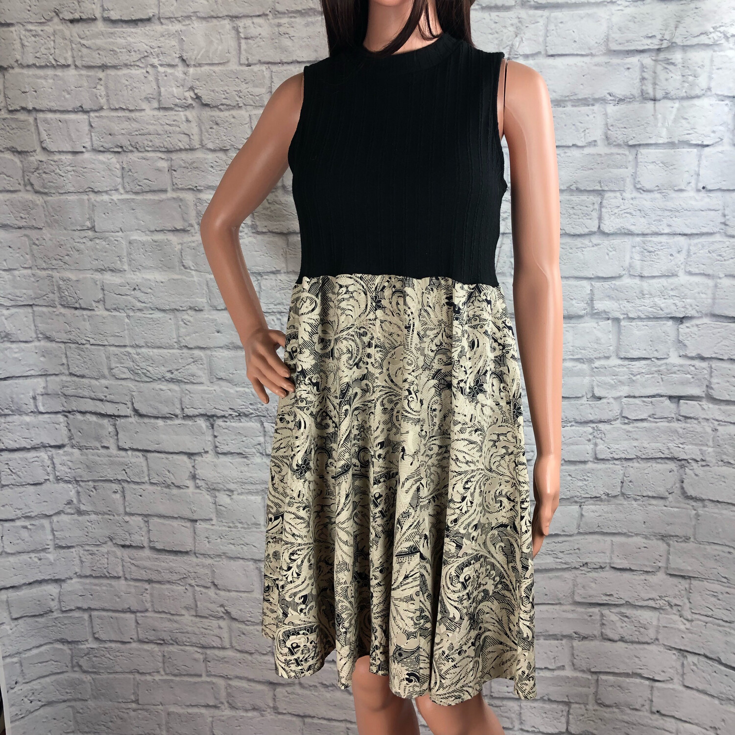 S Threads Upcycled Dress Baroque Print Ribbed Knit Size M/L