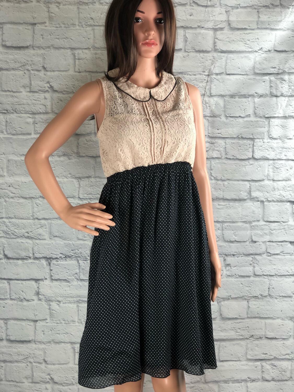 S Threads Upcycled Dress Lace Collar Polkadot Size Medium