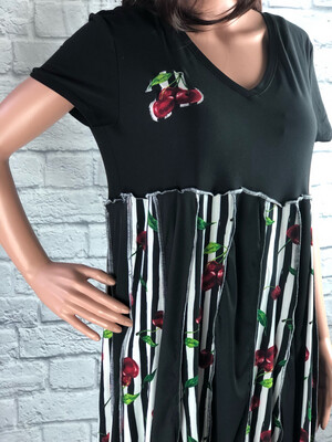 S Threads Upcycled Dress Striped Cherries Stretchy Panels Flare Size M/L/XL