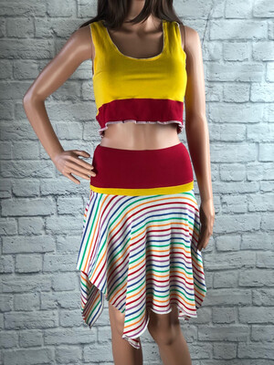 S Threads Upcycled Tank Two Piece Rainbow Outfit Size Medium