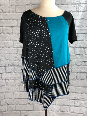 S Threads Upcycled Top Blouse Tunic Polka dots & Stripes Size 2XL