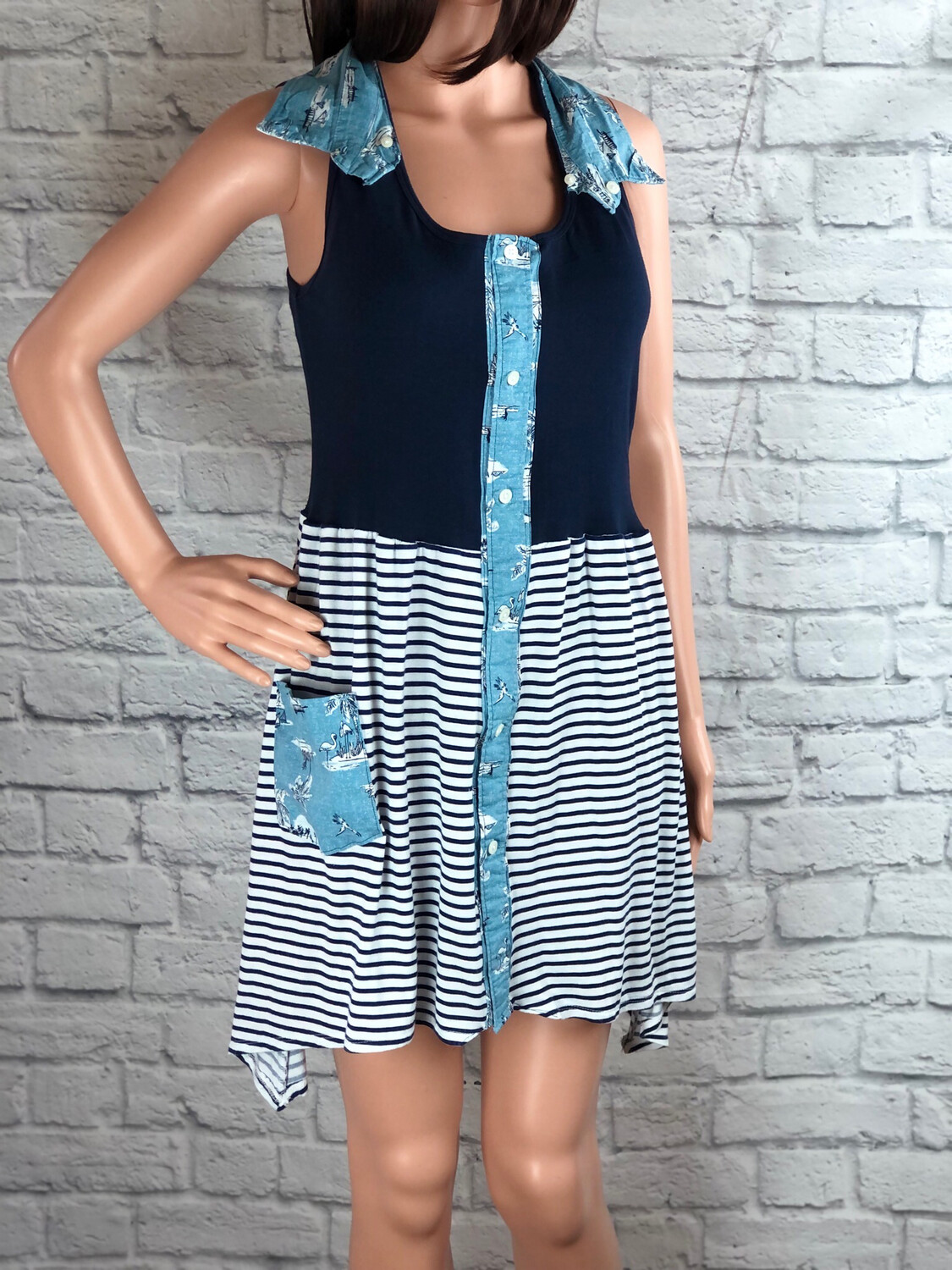 S Threads Upcycled Dress Button Collar Navy Stripes Size Small/ Medium