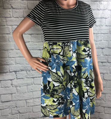 S Threads Upcycled Dress Stripes And Flowers Size L/XL/2X