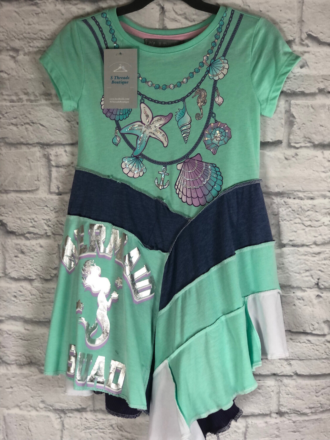 S Threads Kids Upcycled Repurposed Color Block Flair Mermaid Dress OOAK Size Child 4T