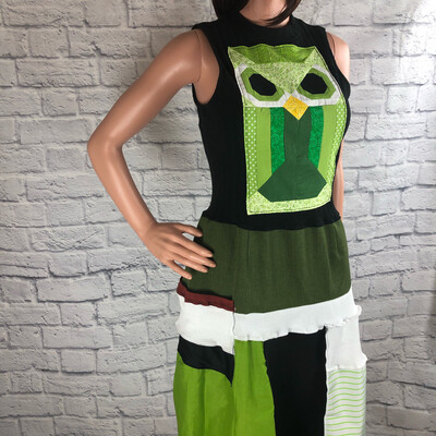 S Threads Upcycled Dress Quilted Owl Patchwork Wearable Art Size Large