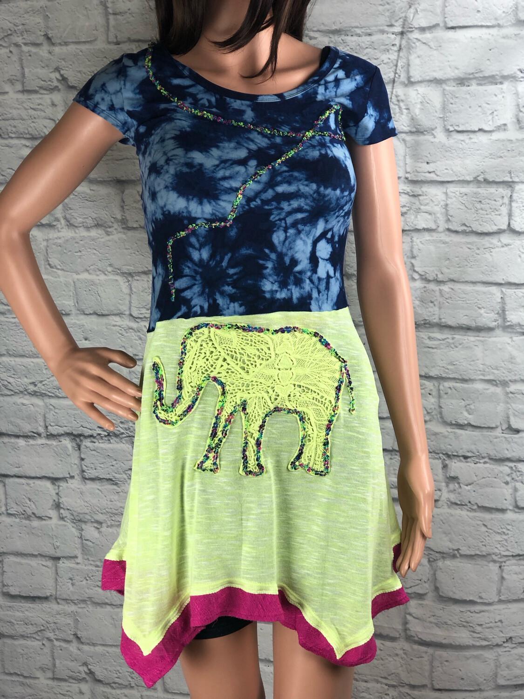 S Threads Upcycled Dress Bright Elephant Fiber Art Tie Dye Size XS/ S