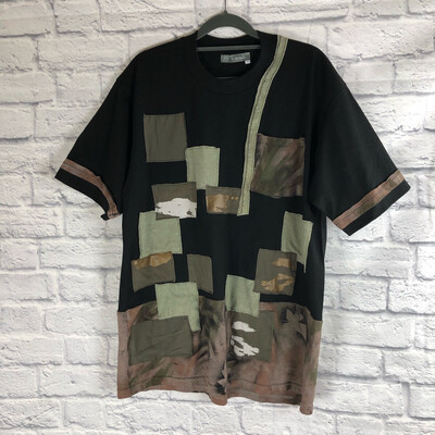 S Threads Upcycled Tshirt Swamp Roots Camo Spray Art Tee W Pocket Size Mens Large