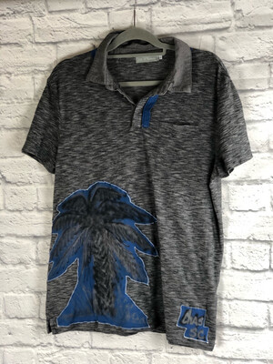 S Threads Upcycled Tshirt Swamp Roots Spray Art Palm Polo Size Mens L