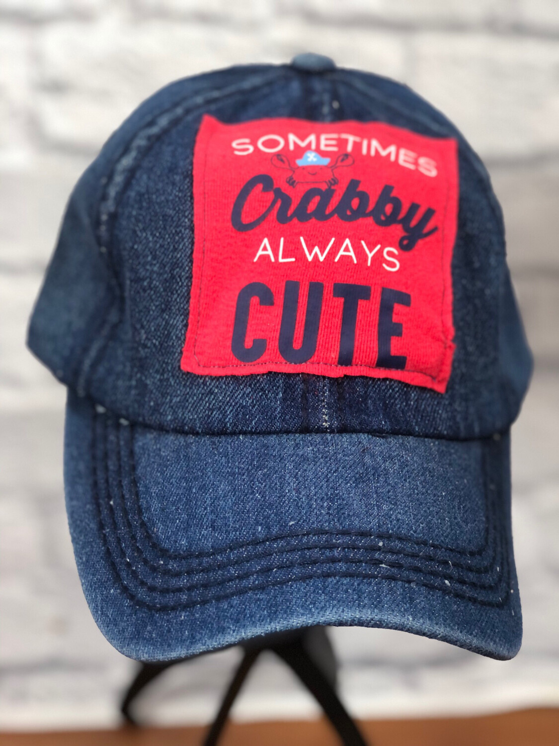 Jean Hat Upcycled Sometimes Crabby OS