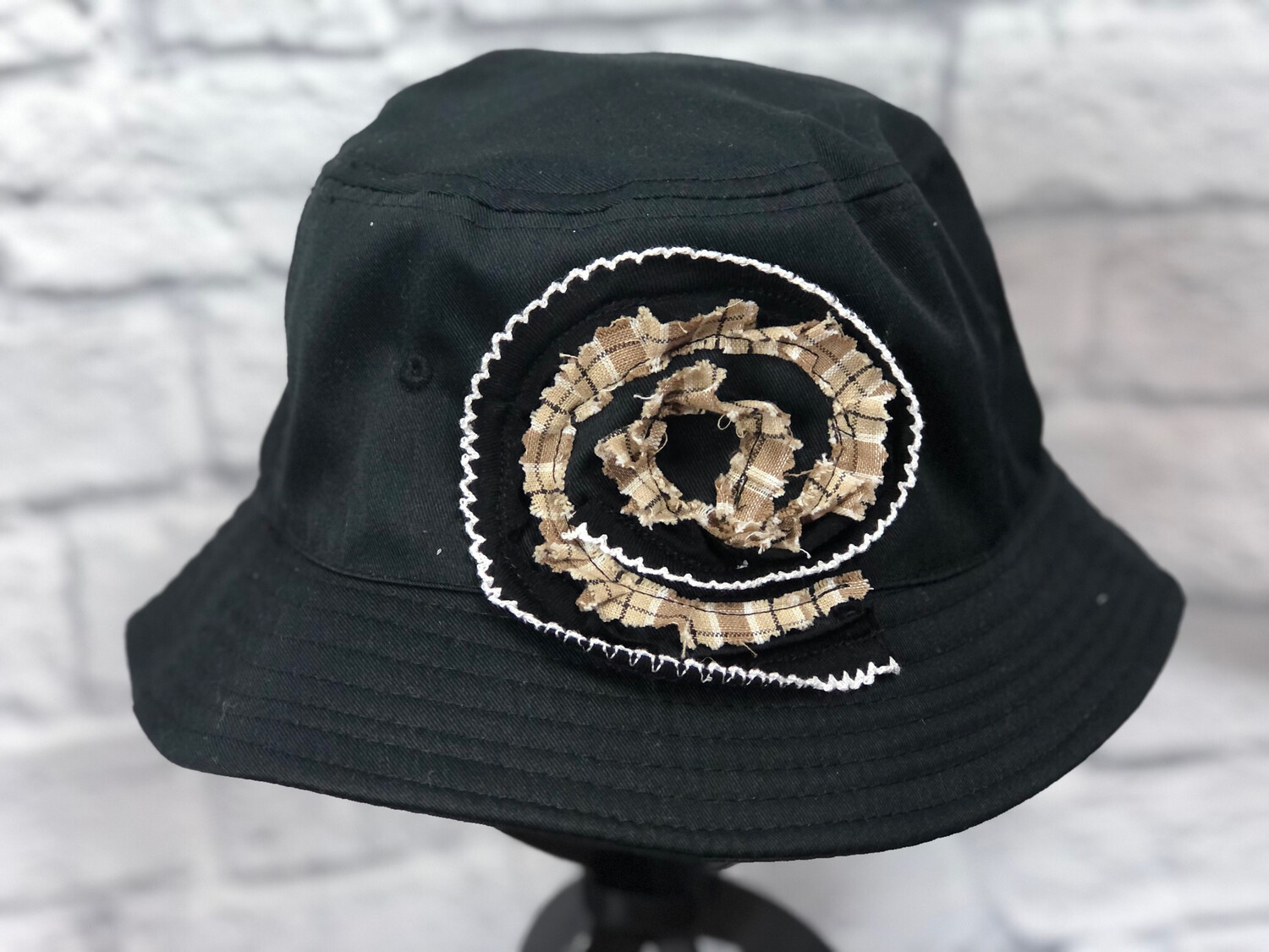 Bucket Hat Upcycled Plaid Spiral OS