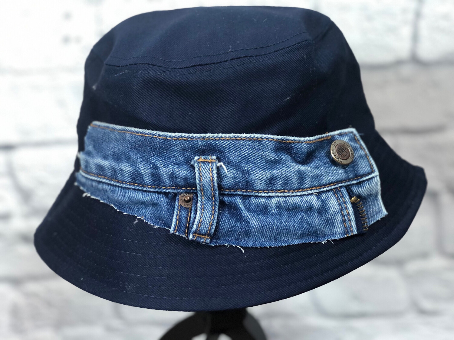 Bucket Hat Upcycled Scrappy Jeans OS