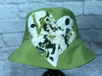 Bucket Hat Upcycled Fiber Art Heart OS